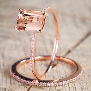Rose Gold Pink Crystal Ring Set 8